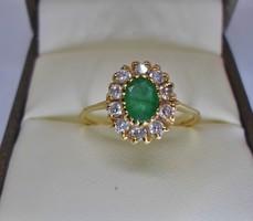 Szépséges valódi smaragd 14kt-os aranygyűrű