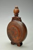Antik fa kulacs, Alföld, 19. szd. vége, vésett, faragott, esztergált fa