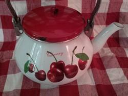 Kaiserhoff régies, cseresznyés zománcozott piros tetős,fa fülű teafőző, teáskanna