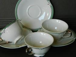 Régi Drasche porcelán, 3 mokkás szett, csésze egyben