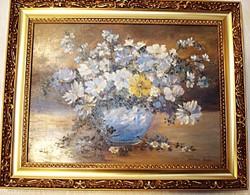 Kocsisné Szloboda Teréz: Virágok kék vázában- olaj festmény ( zsűrizett)