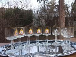 8 db Retro talpas rövid italos-pálinkás stb.pohárkészlet