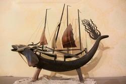 Indonéz vitorlás sárkányhajó dekoráció az 1950 -es évekből 40 cm