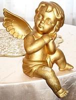 Aranyozott kerámia angyalka