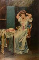 Bruck Lajos (1846-1910): Szépítkező hölgy