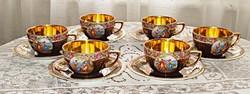 6 db cseh Altwien porcelán teáscsésze, tányérral