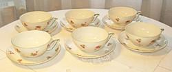 Hat db rózsás Victoria porcelán teáscsésze, aljjal