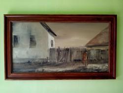 Szántó Lukács olaj / farost festmény