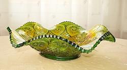 Különleges, irizáló zöld üveg kínáló (Fenton Carnival)