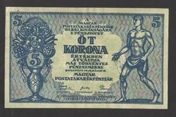 5 korona 1919.  május 18.  aUNC!!   HAJTATLAN!!  GYÖNYÖRŰ!!