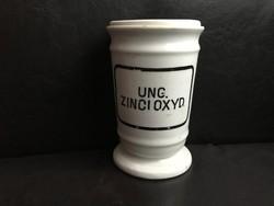 Zsolnay antik patika edény, patikaedény, tégely, 15 cm. gyógyszertári