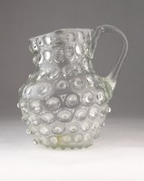 0J169 Régi bütykös üveg kancsó 1850 körüli