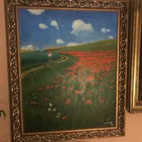 "Beautiful replica of the famous oil painting ""The Poppy Field"" on canvas"