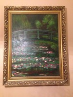 "Beautiful replica of the famous oil painting ""The Japanese Footbridge"" on canvas"
