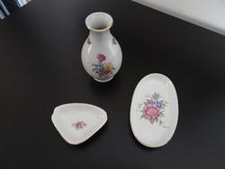 Hollóházi porcelán vintage szett - váza - ovális tálka - hamuzó