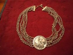 Antik ezüstözött többsoros nyakék két oldalán medalion