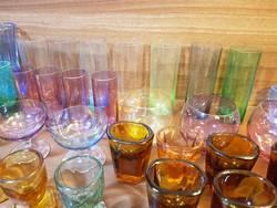Hatalmas art deco színes pohár csomag / gyűjtemény