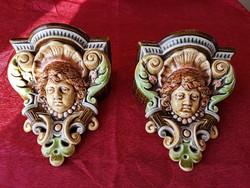 Gyönyörű,antik Schütz Cilli fali posztamens ,fali konzol pár.