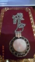 Gyöngyház  Színű Régi Medalion