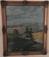 Fenyves, karton, olaj, blondel képkeretes festmény 56 cm X 46 cm