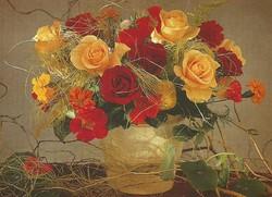 Vidám virágcsokor képeslap