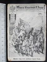 AUSZTRIA HAZAFIAS KÉPESLAP TIROL KATONA 1915 KUK JELZÉS + FERENC JÓZSEF BÉLYEG