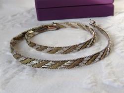 Meseszép lamellás ezüst colier, aranyozott részekkel - 30,5 gr