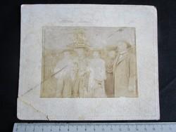 FOTÓ FOTÓGRÁFIA FÉNYKÉP MŰTERMI JELZETT KEMÉNYHÁTÚ ELŐKELŐ CSALÁD KALAP CSOPORTKÉP KÉP cca. 1890