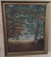 Fás, olaj vászon festmény, aranyozott keretben 66,5 cm X 56 cm