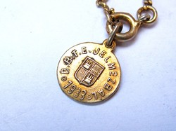 BBTE  jelmezbál 1933,aranyozott ezüst medál+lánc