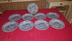 Antik Sarreguemines francia fajansz lapostányér 9 db