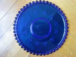 Üveg tortatál stilizált szőlőszemes mintával, Ø 31, kék