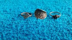 1,-Ft 3 db antik ezüst gyűrű egyben,markazit,rubin és cizellált!Garanciával!