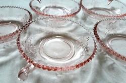 Hat mintás üveg kompótos tál tálka tányér