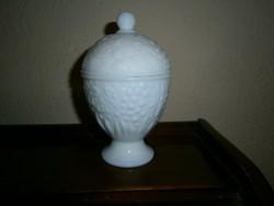 Opálüveg domború mintás talpas bonbonier 15 cm