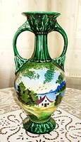 Kézzel festett fajansz füles  váza, vízparti tájképpel / Ausztria/1950 /