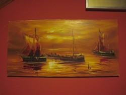 Hajós jelenet-olaj festmény