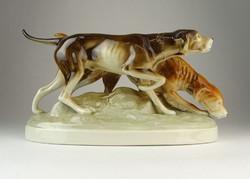 0Q326 Royal Dux porcelán vadászkutya pár