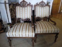 Gyönyörűen faragott antik fotel párban