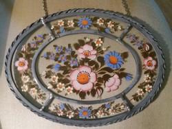Ovális ón keretes virágos üveg kép