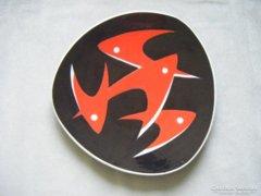 Zsolnay retro tál halakkal