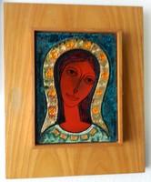 Lőrincz Vitus : Szűz Mária tűzzománc kép