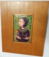 Lőrincz Vitus : Lány virággal című tűzzománc kép