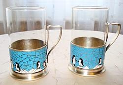 Orosz ezüstözött rekeszzománc pohártartók, hőálló üvegbetétt