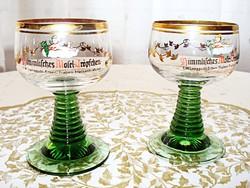 Németalföldi boros poharak, angyalkás mintával