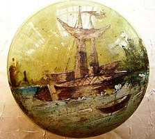 Antik, vitorláshajóval díszített, kézzel festett bonbonier