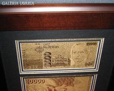 24 kt 999.9 ARANY LUXUS SPANYOL ARANYPÉNZ, 1000 Peso UNC BANKJEGY, BANKJEGYVERET, ASZTAL VITRIN DÍSZ
