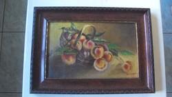 Nagy Imre(1893-1976)híres erdélyi festőm.gyümölcs csendé.-BARACKOS KOSÁR-eredeti keretében-1928-ból.