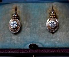 Aranyozott ezüst art deco cirkónia köves fülbevaló