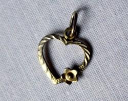 Régi aranyozott ezüst kicsi szív alakú medál